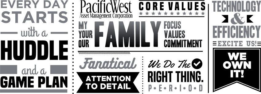 Our Core Values: My family focus, your family values, our family commitment. Every day starts with a huddle and a game plan. Fanatical attention to detail. We do the right thing - period. Technology and efficiency excite us! We own it!